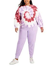 Plus Size Tie-Dye Sweatshirt & Utility Joggers, Created for Macy's