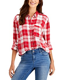 Metallic Flannel Button Down Top, Created for Macy's