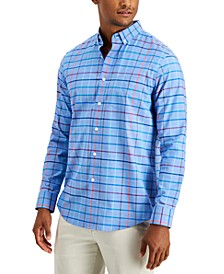 Men's Stretch Rainbow Windowpane Poplin Shirt, Created for Macy's