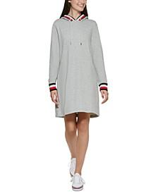 Contrast-Trim Hooded Dress