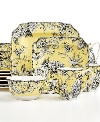222 Fifth Adelaide Yellow Square 16 Pc Set Service For 4