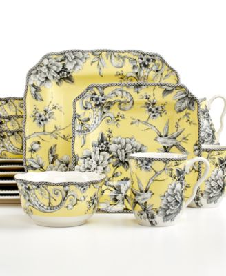 main image; main image ...  sc 1 st  Macyu0027s & 222 Fifth Adelaide Yellow Square 16-Pc. Set Service for 4 ...