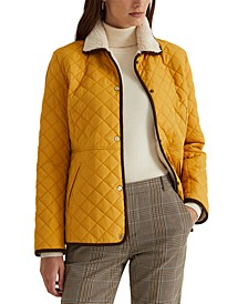 Corduroy-Trim Quilted Coat