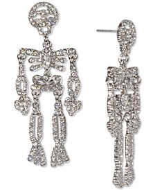 Silver-Tone Multi-Crystal Skeleton Statement Earrings, Created for Macy's