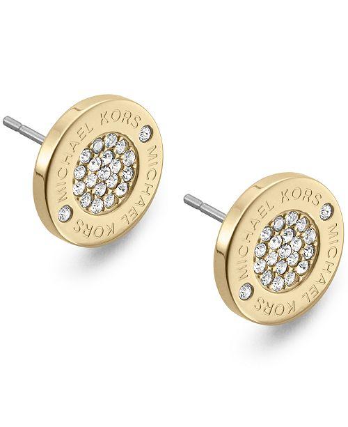 eb72c76bb368 Michael Kors Crystal Pave Logo Stud Earrings   Reviews - Fashion ...
