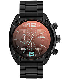 Diesel Unisex Chronograph Iridescent Crystal Overflow Black Ion-Plated Stainless Steel Bracelet Watch 54x49mm DZ4316