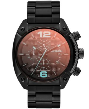 UNISEX CHRONOGRAPH IRIDESCENT CRYSTAL OVERFLOW BLACK ION-PLATED STAINLESS STEEL BRACELET WATCH 54X49