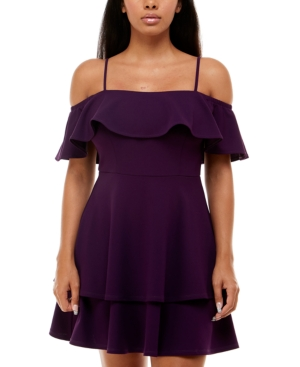 Juniors' Ruffled Off-The-Shoulder Dress