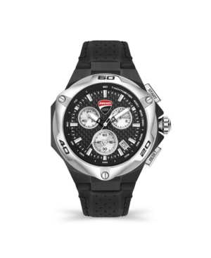 Men's Motore Chronograph Black Genuine Leather Strap Watch 45mm