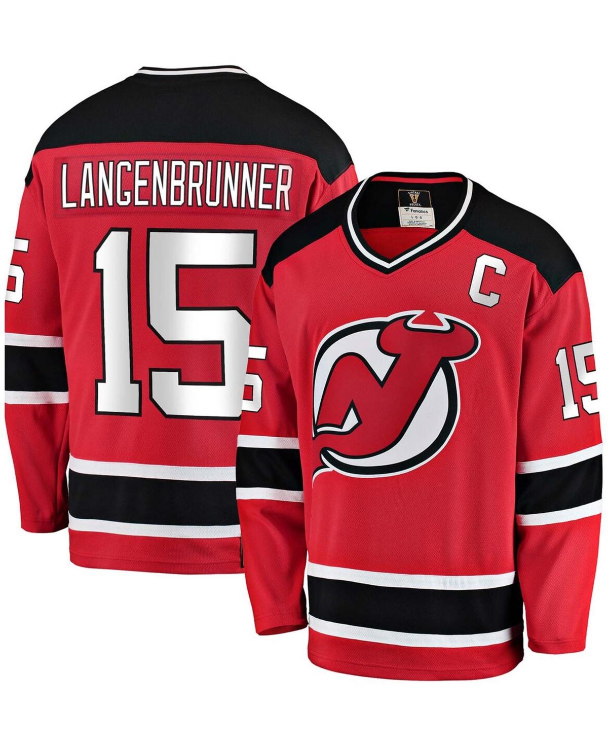 Men's Jamie Langenbrunner Red New Jersey Devils Premier Breakaway Retired Player Jersey