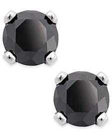 Black Diamond Round Stud Earrings in 10k White Gold (1/6 ct. t.w.)