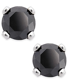 Black Diamond Round Stud Earrings in 10k White Gold (1/6 ct. t.w.)