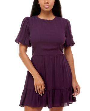 Juniors' Back-Cutout A-Line Dress