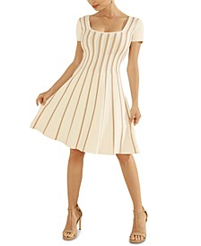 Leti Textured Striped Fit & Flare Dress
