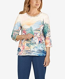 Petite Relax and Enjoy Scenic Knit Crew Neck Top