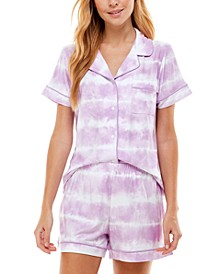 Printed Button Top & Shorts Pajamas Set