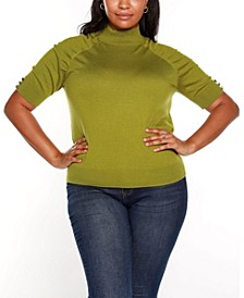 Black Label Plus Size Puff Sleeve Mock Neck Sweater