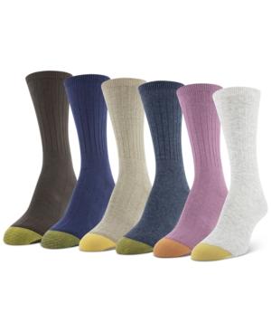 6-Pk. Multi-Color Ribbed Crew Socks
