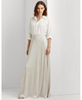 로렌 랄프로렌 Lauren Ralph Lauren Maxi A-Line Skirt,New Champagne