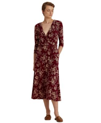 로렌 랄프로렌 Lauren Ralph Lauren Floral Jersey Midi Dress,Romantic Garnet/dark Ivory
