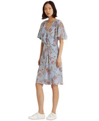 로렌 랄프로렌 Lauren Ralph Lauren Flutter-Sleeve Georgette Dress,Light Blue/garnet/multi