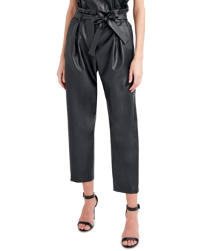 Faux-Leather Paperbag Pants