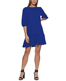 Ruffled-Hem Elbow-Sleeve Dress