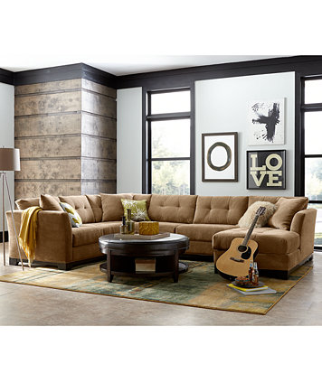 Elliot Fabric Sectional Living Room Furniture Collection, Created ...