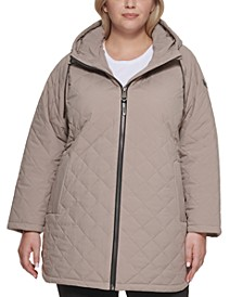 Plus Size Quilted Faux-Leather Trimmed Hooded Coat