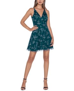 Juniors' Glitter-Print Fit & Flare Dress