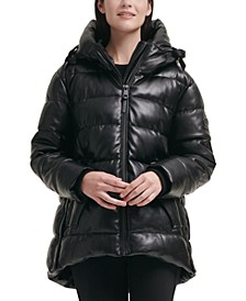 Petite Faux-Leather Hooded Puffer Coat