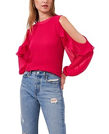 Ruffle Pleat Cold Shoulder Top