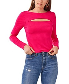 Cropped Knit Cut-Out Top