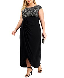 Plus Size Embellished Faux-Wrap Gown