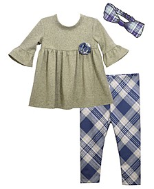 Baby Girls Rolled Flower Over Plaid Knit Legging, Matching Headband Outfit, 3 Piece Set