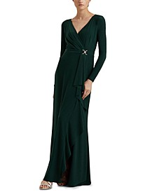 Rhinestone-Embellished Jersey Gown