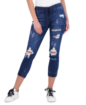 Juniors' Ripped Jogger Jeans