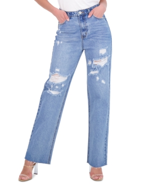 Juniors' Cotton Ripped Wide-Leg Jeans