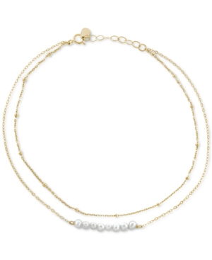 Cultured Freshwater Pearl (3-4mm) Layered Ankle Bracelet