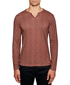 Men's Slim Fit Interlaced Long Sleeve Henley