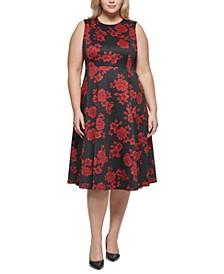 Plus Size Floral-Print Fit & Flare Dress