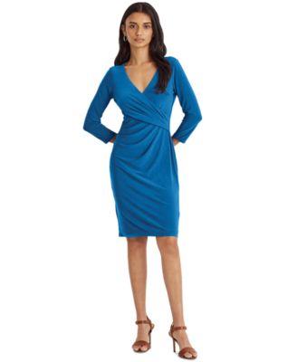 로렌 랄프로렌 Lauren Ralph Lauren Jersey Three-Quarter-Sleeve Dress,Deep Bondi Blue