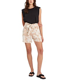 High Tide Tie-Dyed Paperbag-Waist Shorts