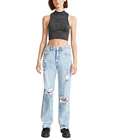 Juniors' Destructed Boyfriend Button-Fly Jeans