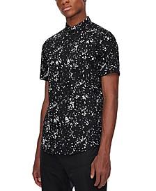 Men's White Pollock Logo Print Woven Shirt