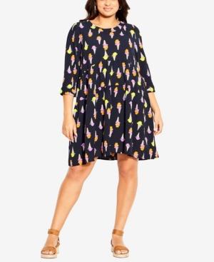 Plus Size Be A Doll Print Dress