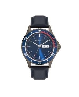Men's Three Hands Day Date Dark Blue Genuine Leather Strap Watch 44mm