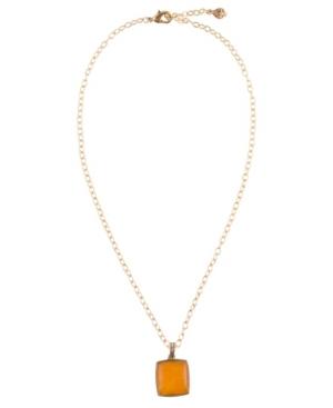 Women's Sunny Faux Bronze and Yellow Quartz Pendant on Chain Necklace