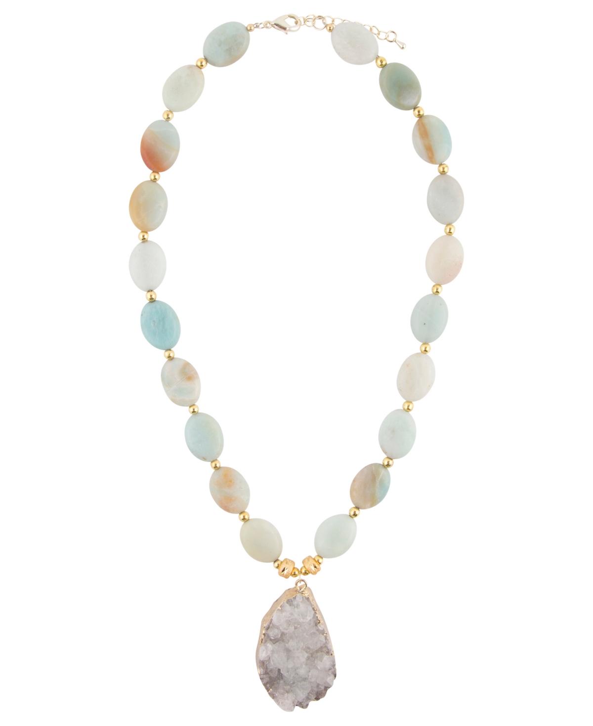 Barse Women's Renew Genuine Stone Pendant Necklace