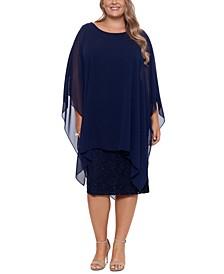Plus Size Chiffon-Overlay Sequin Lace Dress